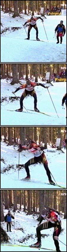 en tyske skiskytteren kollapset og besvimte i 1. etappe på skiskytterstafetten, men stavret seg opp og ble jaget til veksling av egne lagledere.
