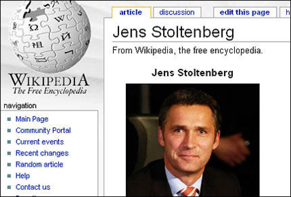 TILBAKE: Den originale artikkelen om Jens Stoltenberg er tilbake i Wikipedia og vandal-versjonen ute. Foto: Faksimile