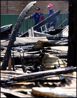 NEDBRENT: Politiet tror brannan i United Church var påsatt. Foto: AFP.