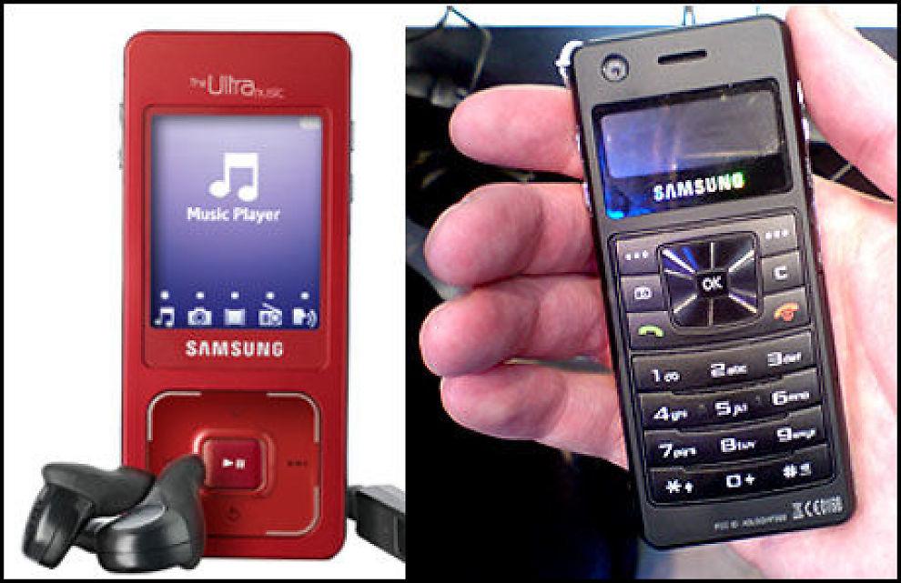 TO SIDER: Samsung klarer å kombinere telefon, kamera og mp3-spiller på en utrolig bra måte med deres nye F300. Foto: Samsung / Jørgen Lyngvær VG Nett.