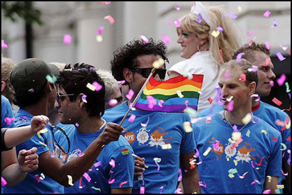 MANGFOLD: Homofile, heterofile, mødre, fedre, organisasjoner og alt som er engasjert deltar i homoparaden i Oslo. Her fra fjorårets parade. Foto: Cornelius Poppe / SCANPIX