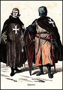 Når johanitterne gik i strid bar de en sort kappe med et hvitt kors - i dag ofte omtalt som malteserkoret.