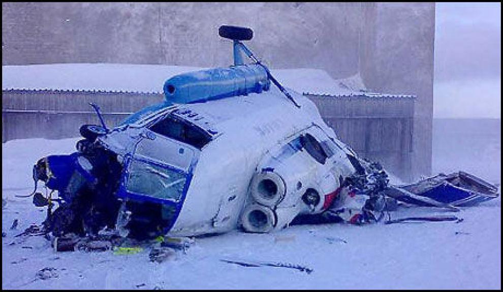 STYRTET: I mars styrtet et russisk helikopter ved en militærbase på Svalbard. Foto: Sysselmannen