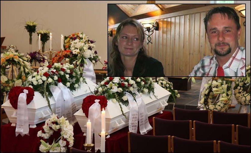 GRAVLAGT: Anita Wathne og Terje Brueland ble gravlagt fra Oltedal kirke i dag. Bildet av kistene før begravelsen er sendt ut med tillatelse fra familien. Foto: Geir Einarsen/Privat