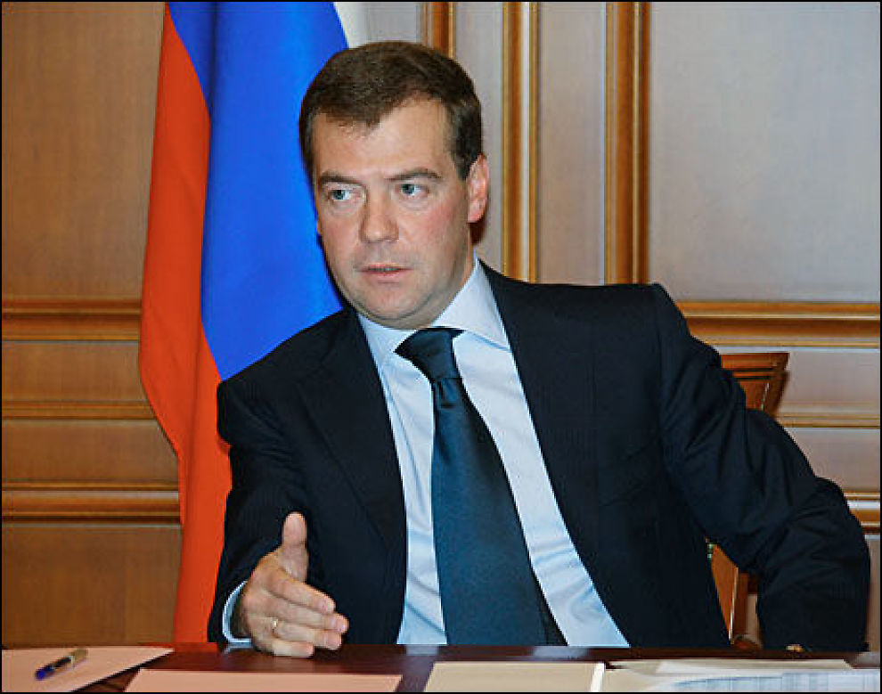 KRITISERER: Russlands president Dmitrij Medvedev går hardt ut mot Ukraina. Foto: AFP Foto: