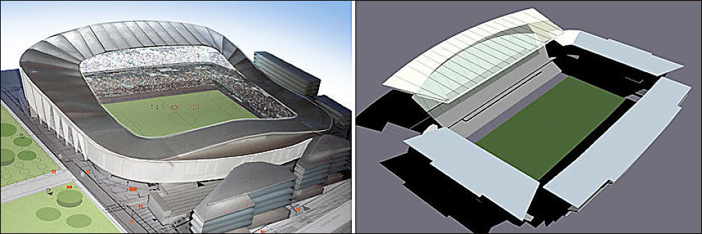 ARKITEKTTEGNINGER: Viking stadion (t.v.) slik den kan bli seende ut i fremtiden, med en kapasitet på 22 000 tilskuere. Tegningen av Lerkendal (t.h.) viser stadion med en kapasitet på 26 000 tilskuere. Tegningene er utarbeidet av arkitektfirmaene Link-Signatur (Viking) og HOK Sport Architecture (RBK). Foto: Link-Signatur/HOK Sport Architecture