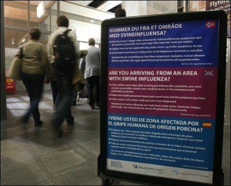 ÅTTE SMITTET: I det er nå åtte nordmenn som er smittet av svineinfluensaen. Foto: Scanpix