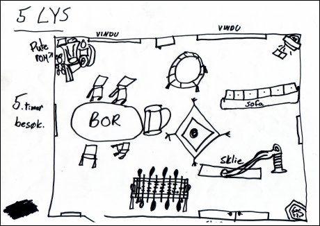 """KOSELIG: Sånn kan det være, mener en av de små """"interiørarkitektene"""", en ti år gammel jente. Da vil det bli koselig å besøke pappa! Foto: Illustrasjon: Barneombudet / SCANPIX"""