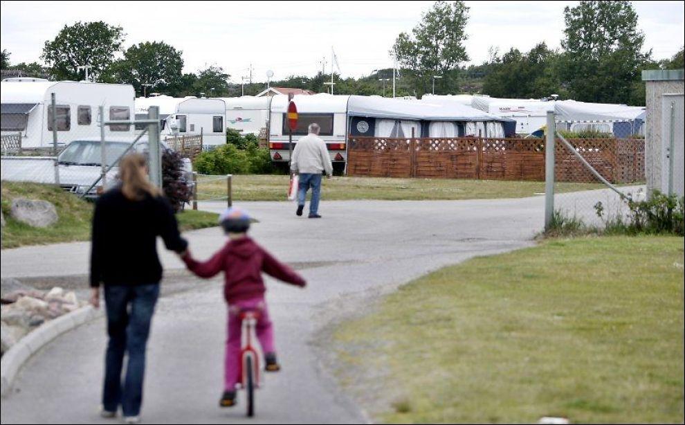 ÅSTEDET: Her, ved campingplassen Apelviken i den idylliske byen Varberg, mener politiet at den antatte Lommemannen forgrep seg på to barn. Foto: Daniel Sannum Lauten