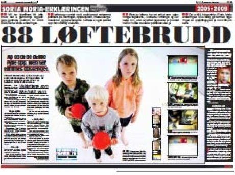 88 LØFTEBRUDD: VG presenterte mandag 22. juni regjeringen Stoltenbergs 88 løftebrudd. Foto: Faksimile: VG