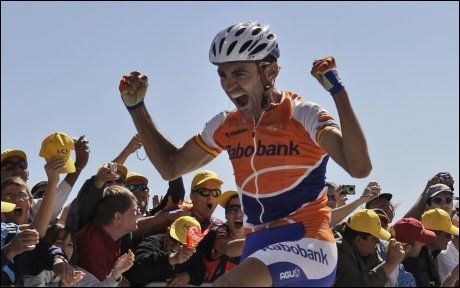 VANT SIN FØRSTE: Juan Manuel Garate var med i et tidlig brudd, og holdt helt til mål. Spanjolen vant karrierens første etappeseier i Tour de France. Foto: AP
