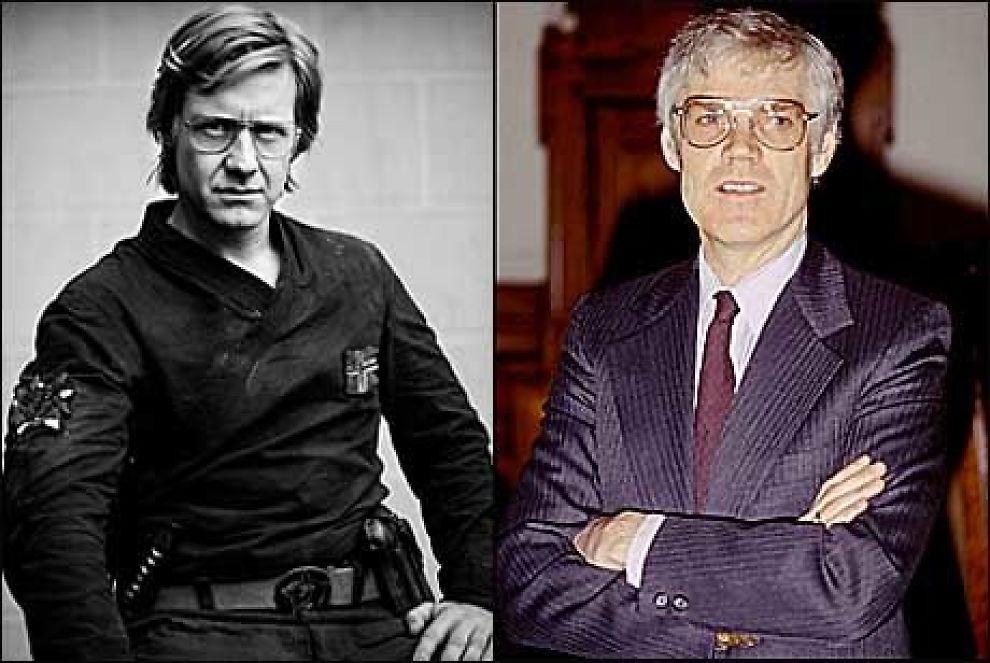 KOPI OG ORIGINAL: Til v: Mads Ousdal som Kommandør Arne Treholt. Til h: Arne Treholt i 1986. Foto: Ellen Ugelstad/Tordenfilm/Scanpix