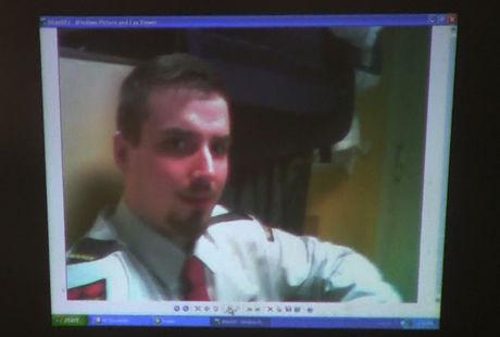 SERSJANT ELLER SECURITAS: Bildet av Moland i Securitas-uniform ble presentert i retten som at han der kan ses med uniform som viser ham med grad som sersjant. Foto: Roar Dalmo Moltubak