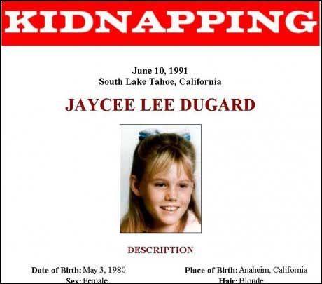 KIDNAPPET: FBIs etterlysning av Jaycee Lee Dugard som skal ha blitt kidnappet 10. juni 1991. Torsdag dukket hun opp igjen. Foto: FBI / EPA