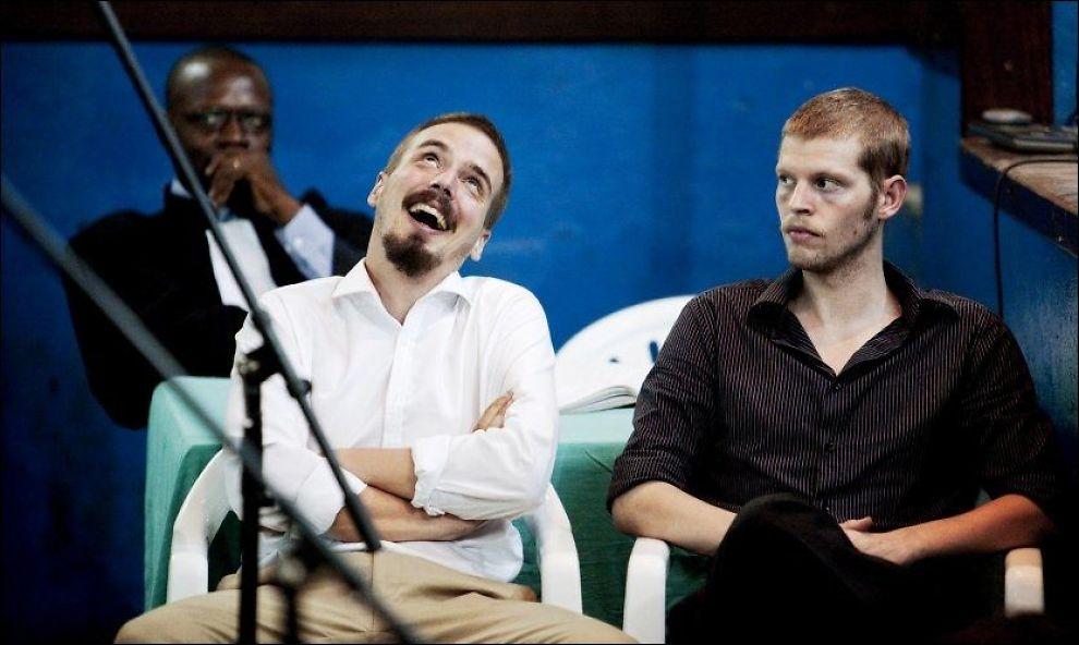 GLAD I TJOSTOLV: Joshua French (til høyre) ønsker å formidle at han er veldig glad i Tjostolv Moland. Foto: Scanpix