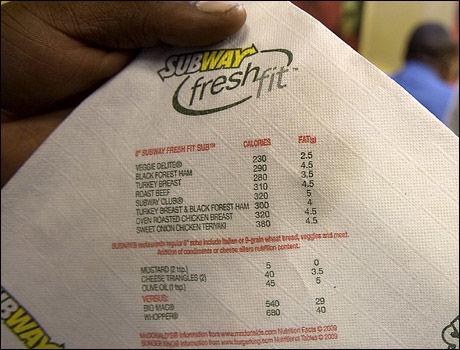Til og med på serviettene kan kundene på Subway i New York lese om kalori- og fettinnholdet i maten. Legg merke til at kundene også kan sammenligne Subway-maten med populær mat fra konkurrentene. Nederst på servietten listes kaloriinnholdet i Big Mac (540 kcal) og Whopper (680 kcal) opp. Foto: Pontus Höök