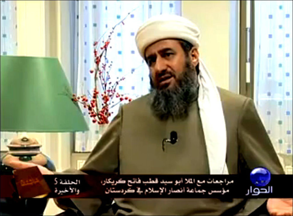 VIL HA ISLAMSK SUPERSTAT: Mulla Krekar tar til orde for et verdensomspennende kalifat der han ser for seg Osama Bin Laden som en mulig leder. Faksimile: al-Hiwar/YouTube