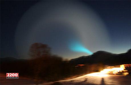 MYSTISK: Så langt er det ingen som har noe klart svar på hva det kan være. Bildet er tatt fra Ånstad på Sortland i Nordland. Foto: Morten Bjørkmo Kristiansen
