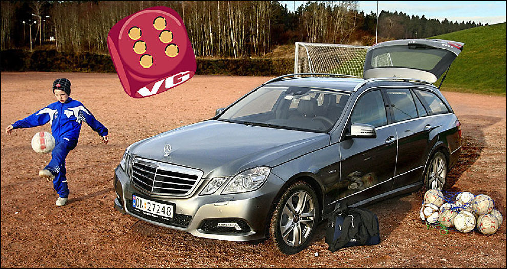GOD FOR GULL: Mercedes E-klasse stasjonsvogn har alt som skal til for å bli en hit blant familier som er pengesterke nok til å bruke en halv million kroner på familiebilen Foto: Øystein Larsen-Vonstett