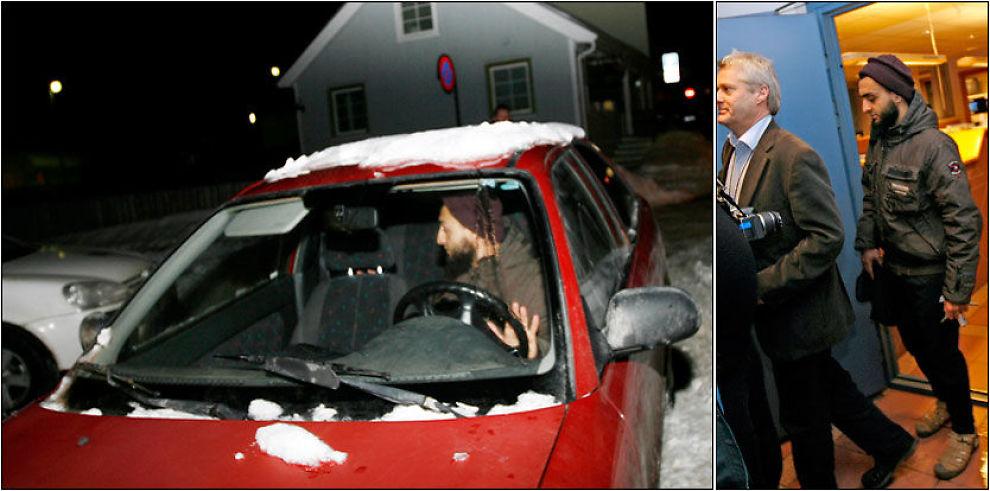 LØSLATT: Sharia-studenten Mohyeldeen Mohammad ble løslatt fra Larvik politistasjon onsdag kveld. Han er siktet for å ha truet to Dagblad-journalister på livet. Foto: Trond Reidar Teigen / Scanpix