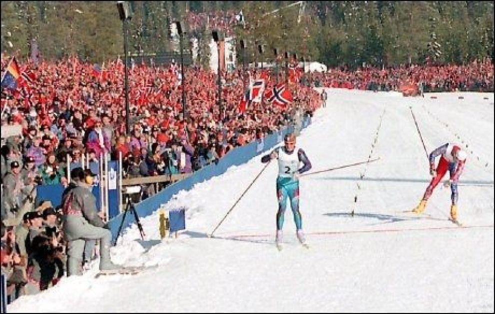 NY FOLKEFEST?: Lillehammer vil gjerne ha OL på ny. Her fra spurtduellen mellom Silvio Fauner og Bjørn Dæhlie i 1994. Foto: Scanpix