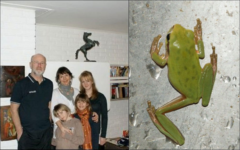 FANT FROSK. Ekteparet Ole Hoem og Hilde Haugland med barna Maja (7), Mathilde (11) og Maud (16). På bildet til høyre krabber salatfrosken rundt i vasken til familien Hoem/Haugland fra Asker. Foto: PRIVAT