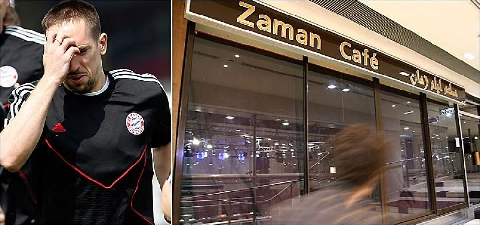 HER JOBBER HUN: Den prostituerte jenta som Ribéry hadde kontakt med skal angivelig ha jobbet på Café Zaman i Paris. Foto: AFP, AP