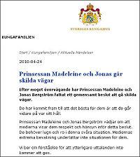 Her er pressemeldingen fra det svenske kongehuset