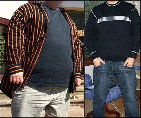 POPULÆR BLOGG: Vektklubb-medlem «Bergen» har gått ned 90 kilo, og har en stor tilhengerskare - Generelt kommenterer folk på oppskrifter, og på min egne positive opplevelser som følge av vektnedgangen. Barn og overvekt, og årsaker til overvekt blir også kommentert ganske ofte, sier han. Her er han fotografert før og etter vektnedgangen. Foto: Privat