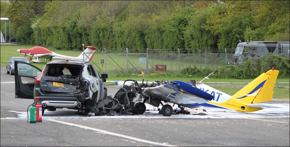 SMADRET: Det er så godt som ingenting igjen av cockpiten på småflyet. Foto: Essex County Fire and Rescue Service