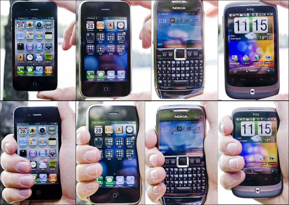 SAMME RESULTAT: Alle smarttelefonene reagerer på samme måte: De mister dekning dersom man holder dem i et fast grep. Fra venstre: iPhone 4, iPhone 3GS, Nokia E71 og HTC Wildfire. Foto: MARKUS AARSTAD