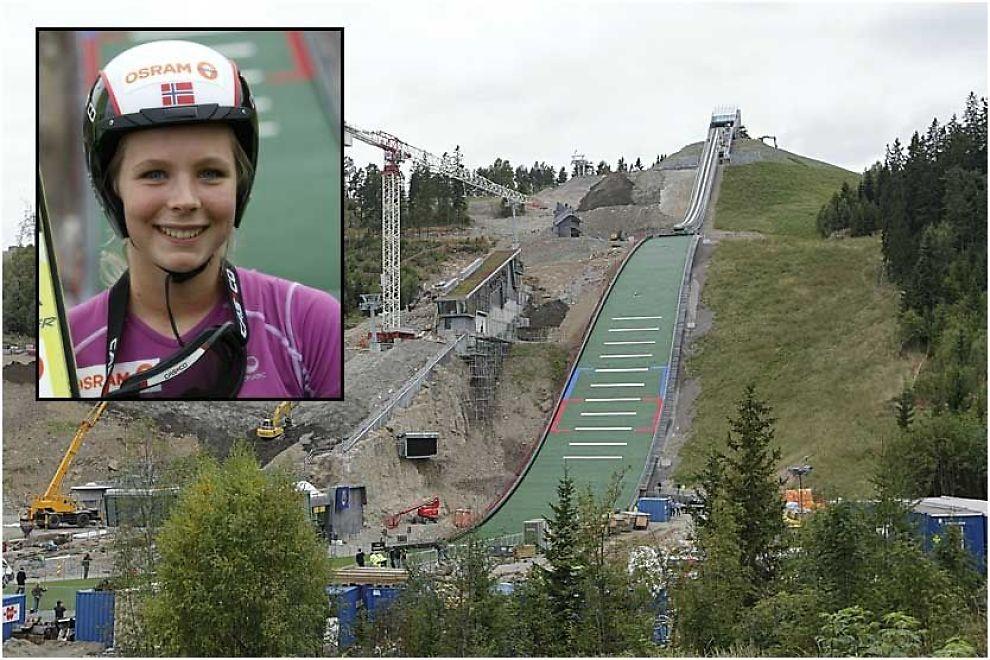 SKRYTER AV DEN NYE BAKKEN: Marte Lundby fikk æren av å åpne Midtstubakken mandag. Foto: Scanpix