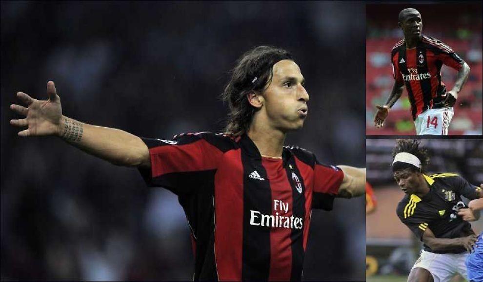 - BARE EN SPØK: Zlatan Ibrahimovic (t.v.) sparket til Rodney Strasser (øverst til høyre) på Milan-trening denne uken. AIKs Mohamed Bangura har snakket med kompisen Strasser, som hevder det hele var en spøk. Foto: