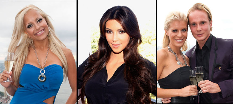PÅ TV 2: Linni Meister, Kim Kardashian, Petter Pilgaard og Mari Haugersveen skal vise frem sine liv på TV 2s nye underholdningskanal. Foto: Scanpix/Pa Photos