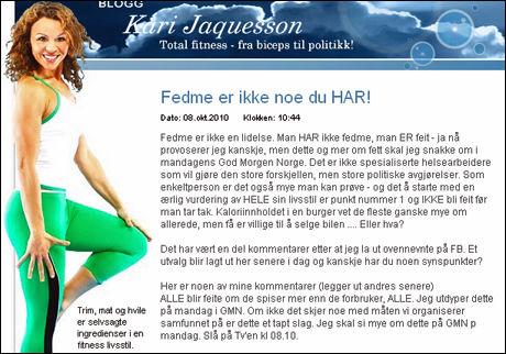 VIL HA HJELP: Trimdronningen ønsker at myndighetene nå tar tak i fedmeproblemet. Faksimile: Karijaquesson.blogg.no.