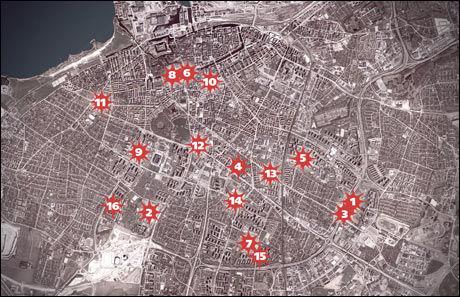 DYSTER OVERSIKT: De registrerte skuddepisodene i Malmö er spredt praktisk talt over hele sentrum. Foto: AFTONBLADET