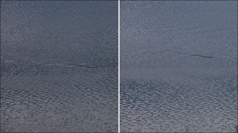 MYSTISK FENOMEN: Disse bildene tok Even Birkeland over Seljordsvannet, og ordføreren tror det er bilde av den berømte Seljordsormen. Foto: Even Birkeland / Sensair.no