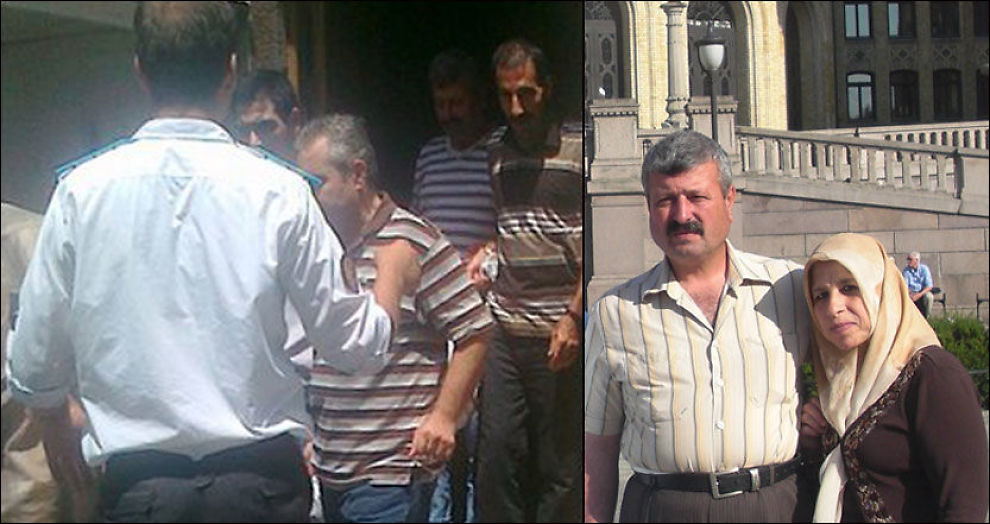 PÅGREPET: Abdulkarim Hossain ble umiddelbart pågrepet da han ankom Syria (t.v) . Hans kone er fortsatt i Norge mens hun venter på å få sin asylsøknad behandlet. Til høyre er de to fotografert foran Stortinget i sommer. Foto: Amnesty/ Privat
