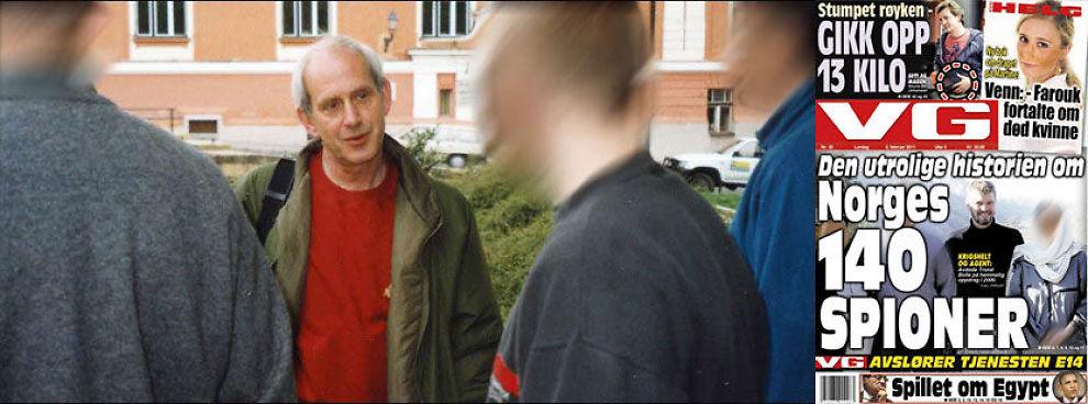SJEFEN: På dette bildet fra 1990 instruerer Ola Kaldager tre av sine spioner. Kaldager bygde opp og ledet den hemmelige organisasjonen E 14. Foto: Privat Faksimile: VG 5. februar 2011