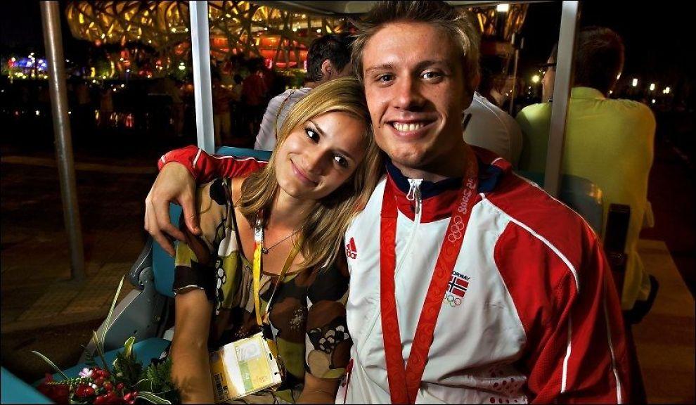IKKE LENGER KJÆRESTER: Andreas Thorkildsen og Christina Vukicevic går hver til sitt. Bildet er fra Beijing-OL i 2008. Foto: Helge Mikalsen, VG.