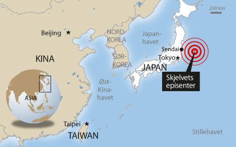 JORDSKJELV OG TSUNAMI: Japan rystes fredag morgen. Grafikk: Tom Byermoen