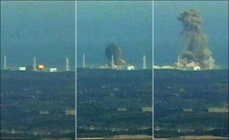 EKSPLOSJON: Tirsdagens eksplosjon ved Fukushima-anlegget. Foto: Reuters/VGTV