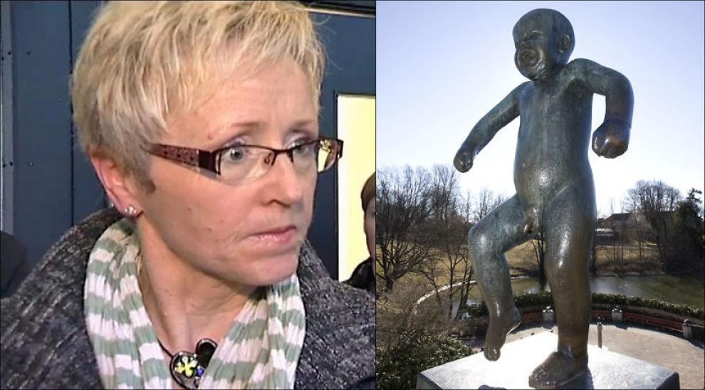 ENGASJERT: Sinnataggen (til høyre) er en av billedhugger Gustavs Vigelands mest kjente skulpturer og står i Vigelandsanlegget på Frogner i Oslo. Nå sammenlignes Sp-leder Liv Signe Navarsete med den lille gutten. Foto: TV 2/Scanpix