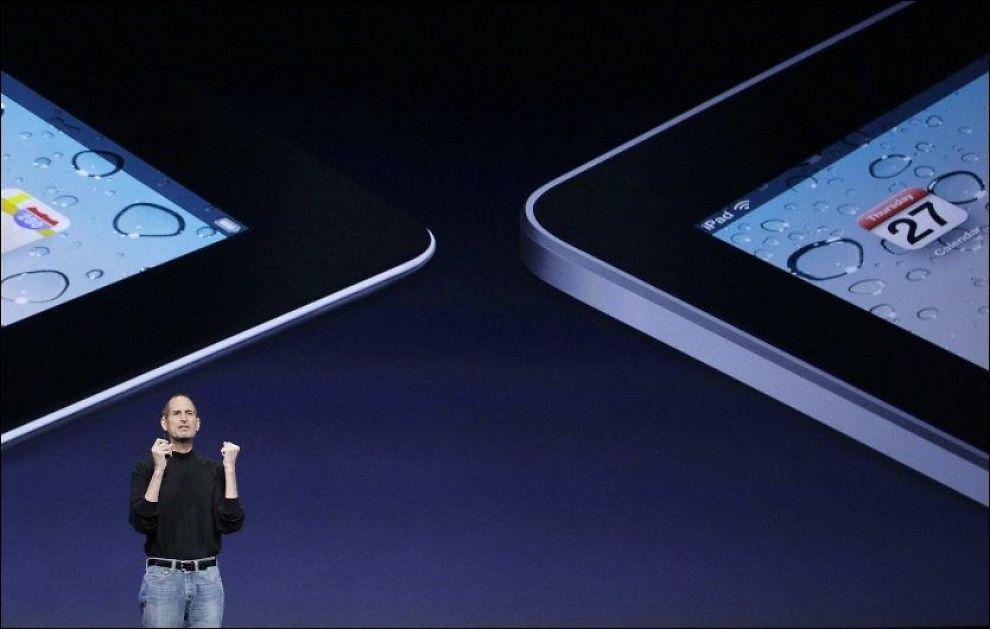 - NYKOMLING PÅ VEI UT: Apples toppsjef Steve Jobs vil ifølge kilder i selskapet snart være klar med en ny og forbedret iPhone-utgave. Arkivfoto: AP