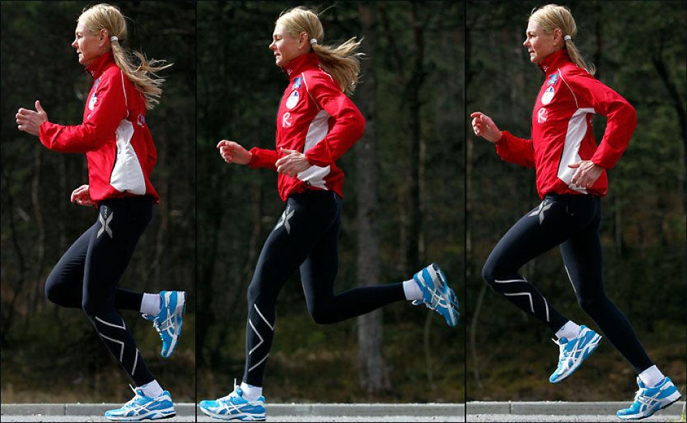 KJENT FOR RAR STIL: Norges beste kvinnelige maratonløper er kjent for sin karakteristiske løpestil. - Men god teknikk er å løpe mest mulig effektivt, og det kan se helt forskjellige ut fra person til person, understreker hun. Foto: Hallgeir Vågenes