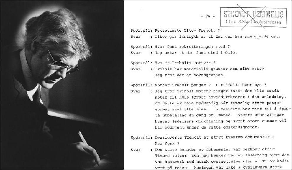 IKKE LENGER HEMMELIG: I dag ble de fem sidene i Treholt-dommen som har blitt hemmeligholdt i 26 år offentliggjort. Foto: VG