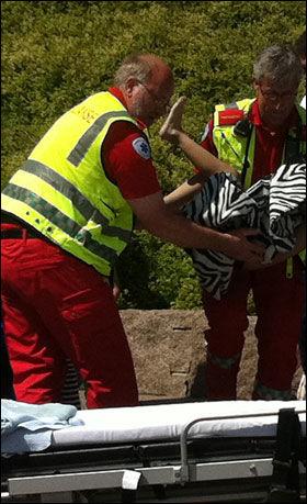 TATT HÅND OM: Ambulansepersonell tok hånd om gutten og kjørte ham til Oslo Universitetssykehus Ullevål. Foto: Christine Søderstrøm/Scanpix