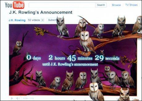 NEDTELLING: På YouTube har «Harry Potter»-fansen kunnet følge med på nedtellingen til offentliggjøringen av den nye fansiden. Foto: AP