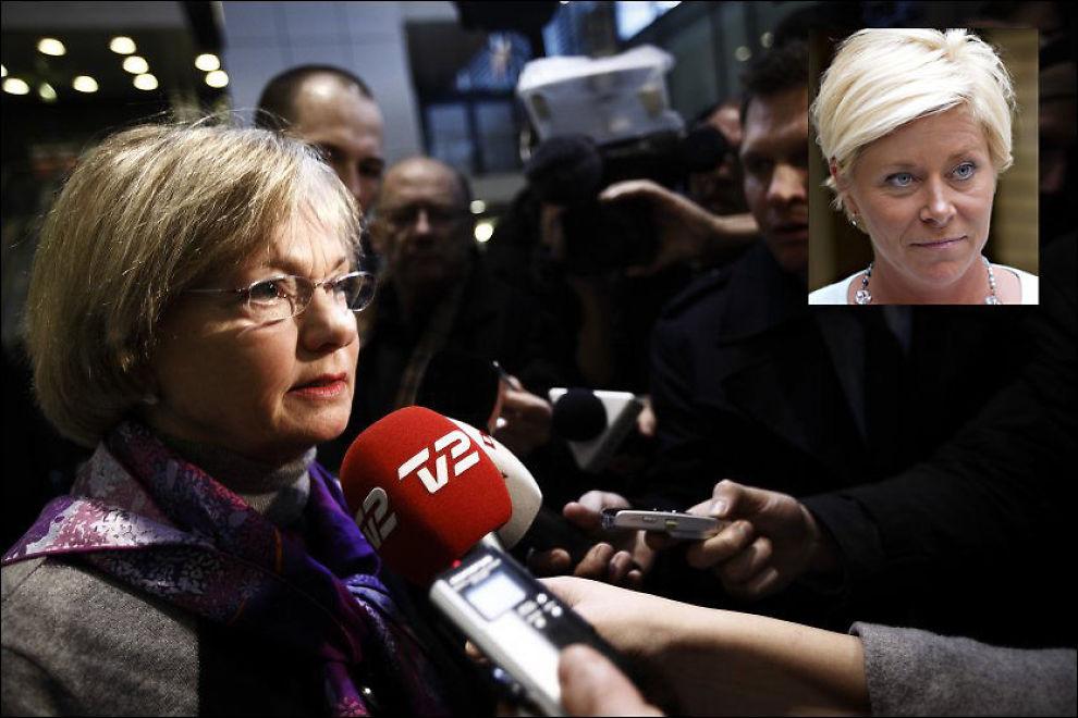REFSER JENSEN: Danske Pia Kjærsgaard mener Siv Jensen mangler ryggrad fordi hun vil endre ordbruken sin etter terrorhandlingene. Foto: SCANPIX/Mattis Sandblad