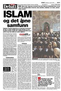 Peder Jensens første leserinnlegg i VG